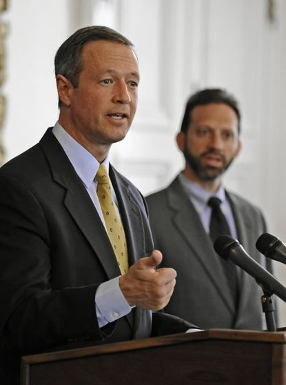 Malcolm D. Woolf, at right, directed the Maryland Energy Administration for five years under Gov. Martin O'Malley (left).