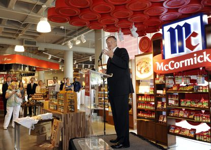 Baltimore, MD -- Alan Wilson, McCormick Chairman, President and CEO speaks to the audience at the opening of the new McCormick World Of Flavors store, located in the Light Street Pavilion at Harborplace.