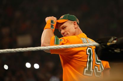 John Cena enters the ring at the WWE SummerSlam 2015 at Barclays Center of Brooklyn on August 23, 2015 in New York City.
