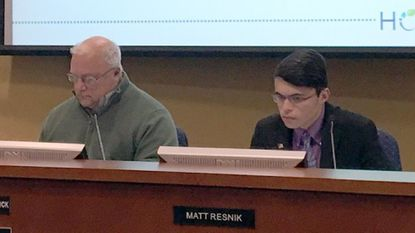 """Harford County Board of Education student member Matt Resnik, right, says Harford students are """"scared"""" following the recent Florida school shootings. """"I feel that this problem has to do more with society than guns themselves,"""" he said."""