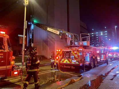 Baltimore firefighters were in the 600 block of East Lombard St. for a heavy fire showing on the first floor of a vacant building.