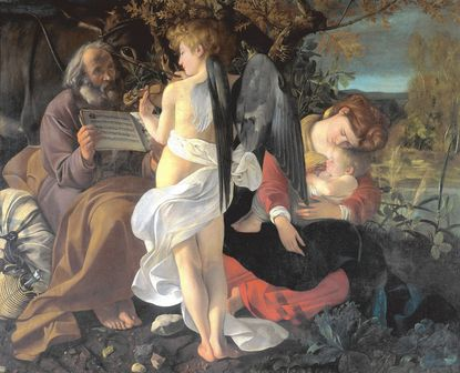 """Michelangelo Merisi da Caravaggio's """"Rest on the Flight into Egypt,"""" part of the """"Picturing Mary"""" exhibit at the National Museum of Women in the Arts."""