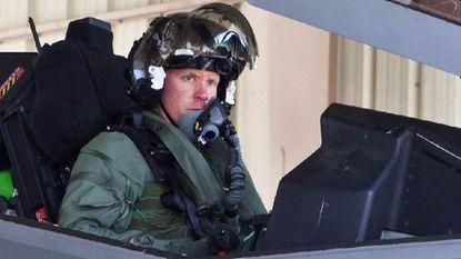 """AF-1 Flt; Capt Eric """"DOC"""" Schultz; First F-35 Flight; Pre-flt & Hosedown; F-35 ITF Edwards AFB; Ca.; 15 September 2011"""
