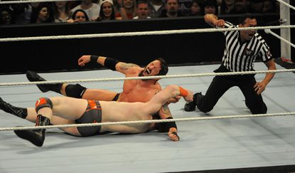 Bad News Barrett reacts after he pins Sheamus during their match at the Baltimore Arena on April 21, 2014.