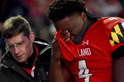 Maryland quarterback Lance LeGendre (4) walks off the field after an apparent injury during the first half of an NCAA college football game against Nebraska, Saturday, Nov. 23, 2019, in College Park, Md. (AP Photo/Will Newton)