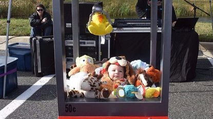 """The grand prize winner in the annual Festival at Bel Air Halloween parade was Tom Diggins of Abingdon as the prize in the """"The Claw Machine."""""""