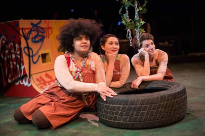 """Girl"" is played by three ethnically diverse women, from left: Camirin Farmer, Lien Le, and Amanda Marie Campbell."