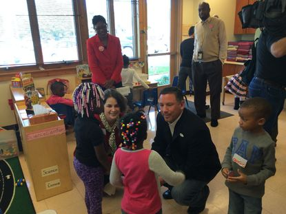 Howard County Council Chair Courtney Watson and County Executive Ken Ulman toured the Dasher Green Head Start Center Friday.