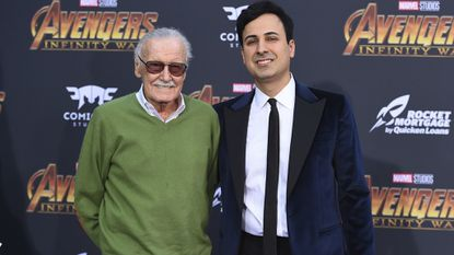 "Stan Lee, left, and Keya Morgan at the world premiere of ""Avengers: Infinity War"" in Los Angeles in April 2018."