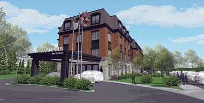 A rendering of a proposed hotel on Taylor Avenue opposite the Annapolis Police Department. A public hearing for the project will be held on July 22 at 7 p.m.