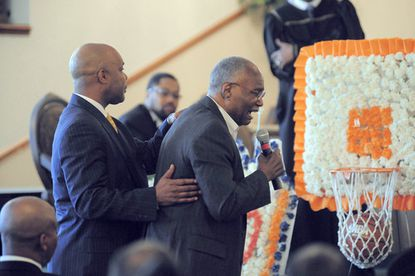 "Former Morgan State basketball coach Nat Frazier, right, speaks about late Bears star Marvin Webster, the ""Human Eraser"", on April 17, 2009."