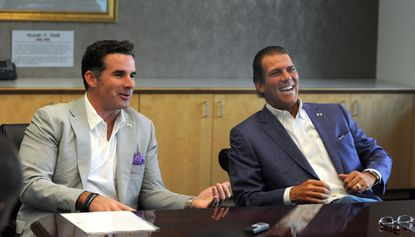 Under Armour founder Kevin Plank, left, and Ravens owner Steve Bisciotti discuss their partnership, which includes naming rights for the Ravens' training facility, back in June 2012.