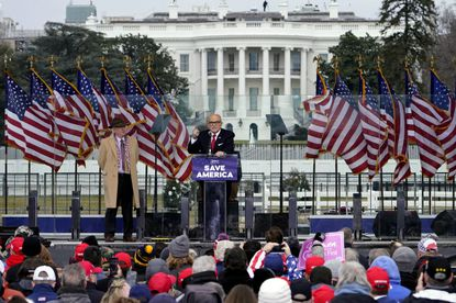"""FILE - In this Jan. 6, 2021 file photo former New York Mayor Rudolph Giuliani speaks in Washington at a rally in support of President Donald Trump, called the """"Save America Rally."""" Giuliani is facing possible expulsion from the New York State Bar Association over incendiary remarks he made to Trump's supporters last week before they stormed the U.S. Capitol. (AP Photo/Jacquelyn Martin, File)"""