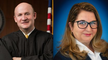 Judge Richard Titus, left, and attorney Laura Morton are vying for a spot as a judge on the Carroll County Circuit Court bench in November's election.