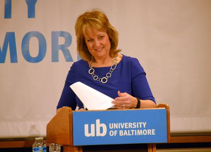 Candidate Kathy Szeliga, during the republican senate debate at the University of Baltimore.