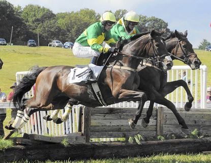 Aero, with jockey Paddy Young, and Tax Ruling, ridden by James Slater, are neck-and-neck as they negotiate the final jump in the Brown Advisory Legacy Chase at Shawan Downs in 2013. More than 5,000 people are expected at this year's event on Sept. 27.