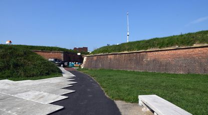 A walkway leading inside Fort McHenry in Baltimore was closed for preparations for Vice President Mike Pence's speech Wednesday as part of the Republican National Convention.