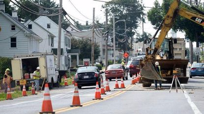 Roadwork, part of the Hampstead Streetscape project, commences along Main Street (Bus. Md. 30) in Hampstead on Aug. 16, 2017.