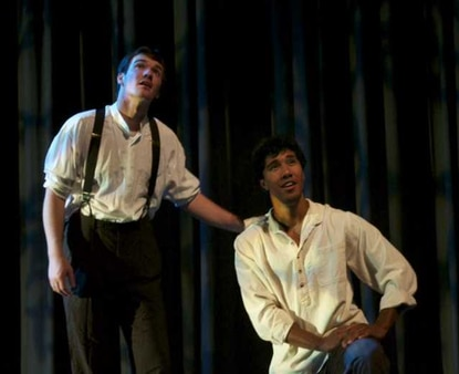 "Brian Nabors as Huck and Alex Pecas as Jim in ""Big River"" at Slayton House."