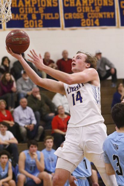 Liberty's Peyton Scheufele shown playing against Westminster last season, is emerging as the go-to player on offense for the reigning co-Carroll County champions.