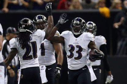Will Hill celebrates after returning his third-quarter interception for a touchdown Monday night in New Orleans.
