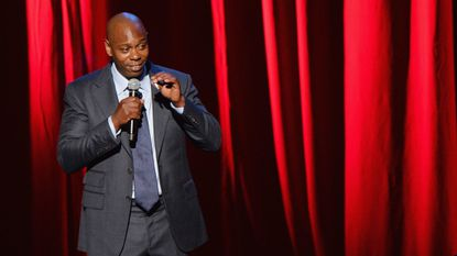 Comedian Dave Chappelle, shown performing recently at Radio City Music Hall, was in Catonsville Friday night and at at Wieland's Barbeque.