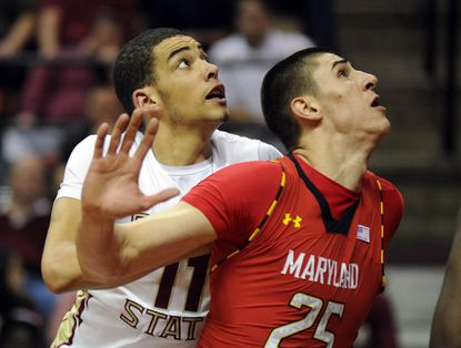 Maryland center Alex Len, right, battles for a rebound against Florida State's Kiel Turpin in the second half of last month's matchup in Tallahassee, Fla.