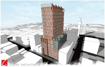 A 30-story mixed-use tower is proposed for the 300 block of West Baltimore Street.