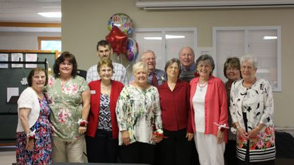 Faith Lutheran charter member Jason Gephardt, founder Ron Stiegler, charter members Mike Ropka and Peggy Hayes, charter members Betty Houck and Holly Gephardt Lamison, founders Linda Gephardt and Nancy Stiegler, charter members Jean Ropka, Terece Carter and Carol Rothenberger.