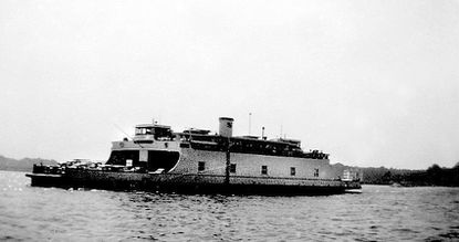 One of the ferries that carried traffic from Anne Arundel County to Kent Island before the construction of the Bay Bridge, seen in 1950 or 1951.