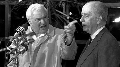 Baltimore Colts' owner Bob Irsay engages in a shouting match with reporters at a news conference on Jan. 20, 1984. Irsay denied making a deal to move the Colts to Phoenix. Irsay moved the team to Indianapolis two months later. Baltimore Mayor William Donald Schaefer is on right.