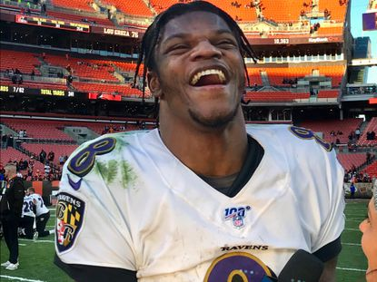 Baltimore Ravens quarterback Lamar Jackson reacts while giving a post game network interview following Baltimore's 31-15 win over the Cleveland Browns last weekend.