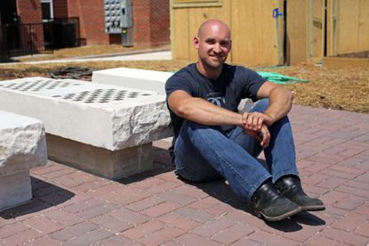 Sebastian Martorana, of Atlantic Custom Carving, LLC, installed two marble game tables and benches to a gathering space on Worsley St. near the Barclay neighborhood. The marble was repurposed from stoops of former rowhomes from across the street.