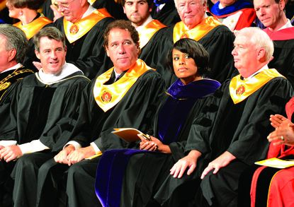 Several public officials were in attendance at Loeschke's inauguration. From left, Attorney General Doug Gansler, Baltimore County Executive Kevin Kamenetz, Baltimore City Mayor Stephanie Rawlings-Blake and Harford County Executive David Craig.
