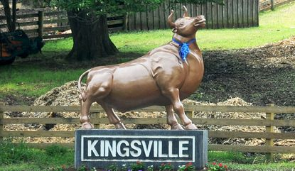 """Gene Schwandtner and his son Chis have created the """"Kingsville Bull,"""" a landmark on their property along Route 1 in Kingsville to welcome motorists."""