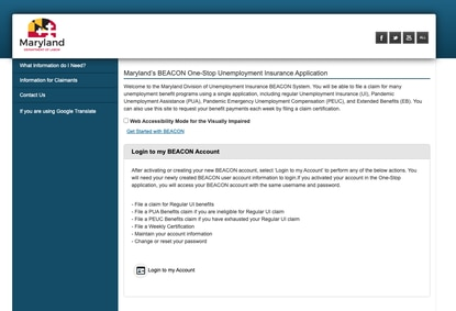 The log-in page for BEACON 2.0, Maryland's unemployment insurance claims portal. (Screen capture/Baltimore Sun handout).