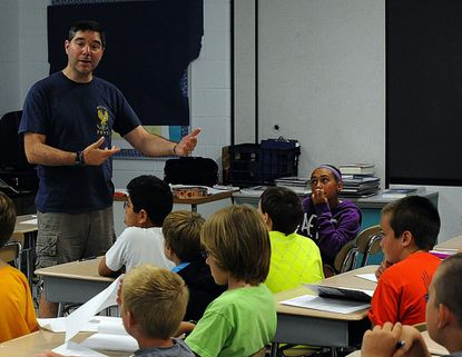 Mike Chrvala teaches a summer enrichment program at Friendship Valley Elementary.