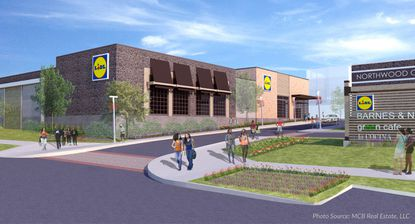 A rendering of the Lidl store at Northwood Commons, the redeveloped Northwood Plaza Shopping Center in Northeast Baltimore by Morgan State University.