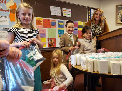 The Church of Jesus Christ of Latter-day Saints Primary children in Frederick and Carroll counties are assembling hygiene kits for refugees in Bangladesh. Pictured left to right: Izabel Jorgensen, Maddie Naugle, Jacob Lyons, Luca Martinelli, and Annie Magee.