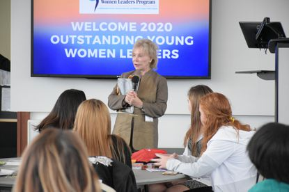 Nancy Grasmick, Towson University's Presidential Scholar, addresses Baltimore County students selected to participate in the college's first Women's Leadership Collective, a program that pairs young women with local community and business leaders to develop leadership skills, during the program's welcoming retreat Jan. 23.
