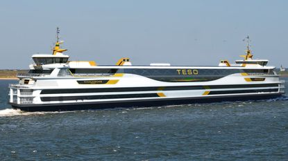 A hybrid ferry in the Netherlands, the 442-foot Texelstroom, powered by electricity with diesel backup, can carry 1,750 passengers and 350 vehicles.