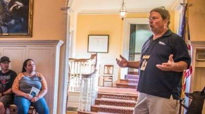 Don Graham, seen here on a previous tour of Montpelier Mansion, recently spoke about its history to Laurel Chapter 422.