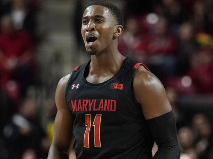 Darryl Morsell #11 of the Maryland Terrapins reacts after a basket in the first half against the Indiana Hoosiers at Xfinity Center on January 4, 2020 in College Park, Maryland.