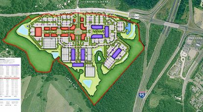 An aeriel view of a concept plan for James Run Corporate Campus, a planned mixed use development that is seeking tax increment financing from Harford County.