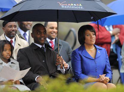 Former Baltimore Mayor Stephanie Rawlings-Blake has filed for divorce from her husband Kent Blake, left.