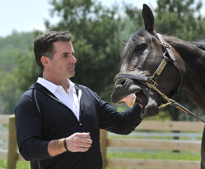 Kevin Plank, owner of Sagamore Farm, with horse Tiger Walk, who is expected to run in the Preakness.