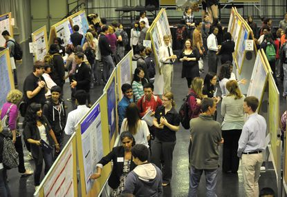 People attend the sixteenth Annual Undergraduate Research & Creative Achievement Day at UMBC.