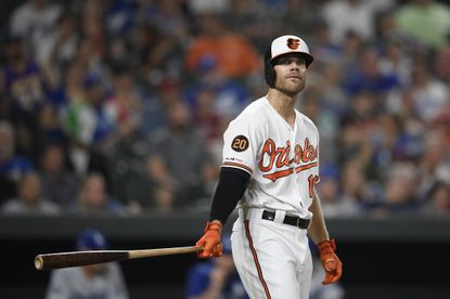 Baltimore Orioles' Chris Davis stands at bat during a baseball game against the Los Angeles Dodgers, Wednesday, Sept. 11, 2019, in Baltimore.