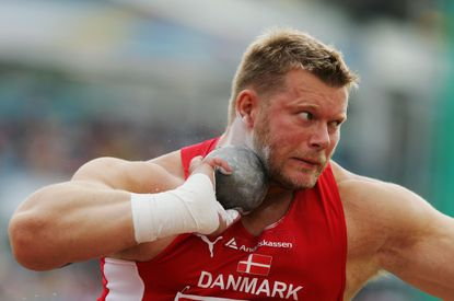 Joachim Olsen competes duringinshot put in theEuropean Athletics Championshipsin 2006. Now a candidate for office in Denmark, he has placed an ad on adult website Pornhub.