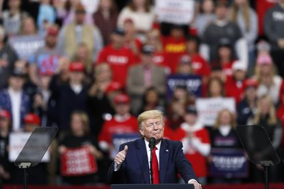 President Donald Trump speaks during a campaign rally at Drake University in Des Moines, Iowa, on Jan. 30, 2020.